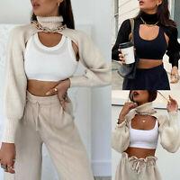 Women Sexy Turtleneck Long Puff Sleeve Knitwear Pullover Crop Top Short Sweater