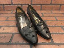 Bally Albertine Black Leather Heels Size 7 Made In Switzerland
