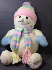 "Animal Alley Snowman Plush 20"" White Christmas Pink Pastel Hat Scarf Mittens"