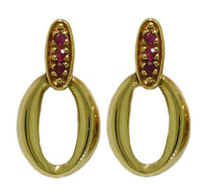 E037 Genuine 9K Yellow, White or Rose Gold Natural Ruby Oval Drop Stud Earrings
