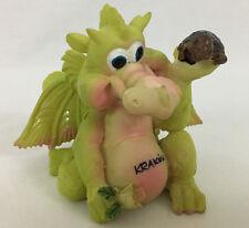 Krakow, Poland Cartoon Baby Dragon Figurine Holding Turtle & Flower 3 Inches