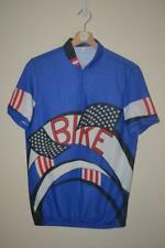 RETRO BLUE BIKE STARS & STRIPES CYCLING TOP CHEST MENS SIZE SMALL