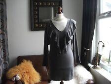 Gorgeous COAST grey frill/ruffle cashmere mix soft fine knit jumper dress Sz 12.
