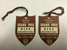 The 16th R.A.C British Grand Prix Silverstone Pits Grandstand 1963 Tickets NM