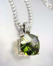 Green Cz Crystal Pendant Necklace Designer Style Silver Gold Balinese Olive