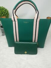 Green Tory Burch Triple Compartment Tote MSRP $528