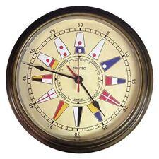 """TRINTEC  COM-02-NF 14"""" Antique Brass Nautical Flag Time & Tide Clock"""