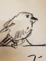 "JOSE TRUJILLO Original Charcoal Paper Sketch Drawing 12"" Bird Modernism DECOR"