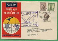 Australia 1952 4s rate QANTAS EMPIRE AIRWAYS 1st Regular Air Mail to S AFRICA