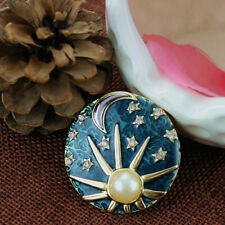Sun, Stars, and Moon Enamel Pin Brooch Free Shipping! Jewelry Sky Man Made Pearl