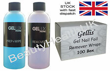 Gellux Prep+Wipe & Gellux Remover 125ml + 100 Box of Gel Nail Foil Remover Wraps
