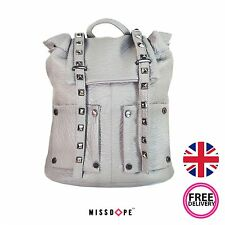NEW LIGHT GREY FAUX LEATHER STUD BACKPACK SHOULDER SCHOOL TRAVEL RUCKSACK GIRLS