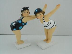SEASIDE DIVING BEACH BEAUTY LADIES IN BATHING COSTUME SET OF 2  ORNAMENT GIFT