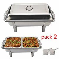 2x Réchaud Dish 9 litres Chafing Dish Nourriture Acier Inoxydable Warmhalte Ace