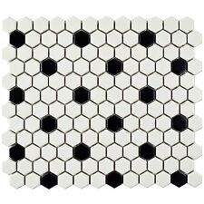 Hexagon Porcelain Floor and Wall Tile, Matte White with Black Dot 10pcs/Carton