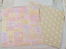 Lot of 20 Sheets Baby Girl Words Somerset Diamonds Craft Scrapbook Paper NOS