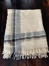 """Vintage Wool Throw Fringed Blanket 48""""x 60"""" REVERSIBLE"""