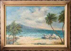 """Albert Ernest Backus (1906 - 1990) Highwaymen Artist Large Oil """"Beach Scene"""""""