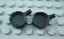 LEGO Lot of 2 Black Minifigure Kitchen Cooking Frying Pans Accessory Pieces