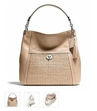 COACH Park Leather Woven Hobo Piper Tan Tassel NWT F23931
