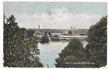 View on Fox River, Appleton, WI PPC 1910 Stars & Stripes PMK to Leeds