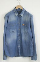 REPLAY X FC BARCELONA M4329L Men ~LARGE* Fade Effect Stretch Denim Shirt 23184-S