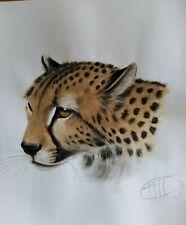 Original Cheetah Portait - Pastel and Watercolour