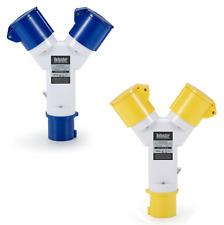 Defender 2-Way Splitter Adaptor 16amp Plug / Sockets (110v or 240v)