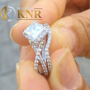 14K WHITE GOLD 1.80CT PRINCESS FOREVER ONE MOISSANITE RING AND NATURAL DIAMONDS