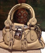 Chloe Beige Sable Sand Paddington Plexi Lock Padlock Tote Bag Leather RARE