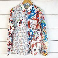 Desigual Women's Floral Snap Button Longsleeve 100% Cotton Size Large