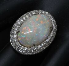 Australian opal  With beautiful natural diamonds 12.35 tcw  14kw Gold size 6.5