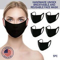 Face Mask Black Reusable 5 Pack Cover Cotton Double Layer Washable Protection