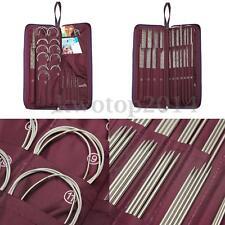 104Pcs Stainless Steel Straight Round Knitting Needles Crochet Hook Set w/ Bag