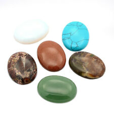 10pcs Assorted Gemstone Flatback Cabochons Oval Dome Smooth Cameo Covers 40x30mm
