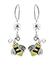 Bee Earrings - 925 Sterling Silver - Bumble Bee Daisy Flower Dangle Bees NEW