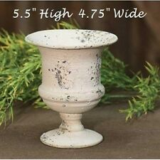 Chippy Urn Planter CREAM Metal French Country Shabby Chic Garden Cottage Style
