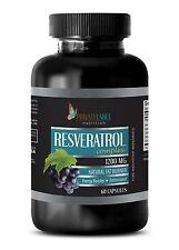 Organic Resveratrol Powder 1200mg Anti-Aging Antioxidant 60 Capsules 1 Bottle