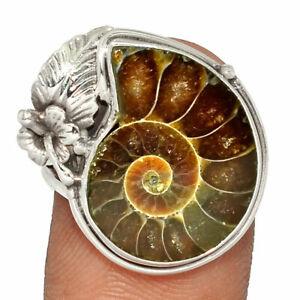 """Fossil"" Ammonite - Madagascar 925 Sterling Silver Ring s.8.5 BR36127 XGB"