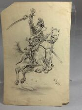 Antique Pencil Sketch Artist Signed Horse Riding Man With Sword Ca 1890
