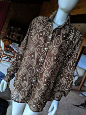 Retro Look Blouse - Katies Brown/ochre yellow  Sz 14  Synthetic Ex condition