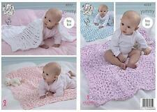 King Cole Yummy Knitting Pattern 4533 Easy Knit Blankets