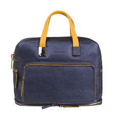RRP €551 PIQUADRO Metallic Leather Large Expandable Travel Bag With Laptop Case