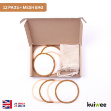 Reusable Bamboo Makeup Remover Cotton Pads Mesh Bag Brown Orange Eco (12 PACK)