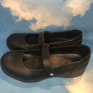 Crocs Mary Jane Women's 10 Flat Black Leather Strap Comfort Shoes