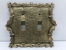 Vintage Midcentury Light Switch Plate Covers Brass Metal by Hanna