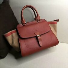 Authentic Burberry Brit Grainy Canvas Check Medium Harcourt Tote - Burgundy Red