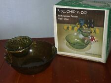 Vintage Indiana Glass 3 Pc Chip'N'Dip Set~NIB~Green Basketweave