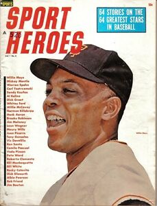 1964 Sport Heroes magazine baseball Willie Mays, San Francisco Giants GdStamp