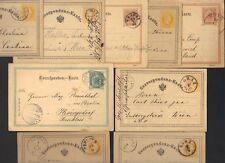 AUSTRIA 1870-90's COLLECTION OF 9 POSTAL CARDS VARIOUS TOWN CANCELS